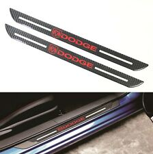 2Pcs Dodge Carbon Fiber Car Door Welcome Plate Sill Scuff Cover Decal Sticker