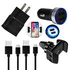 For Samsung Galaxy A51 A71 Car Wall Charger USB-C Type-C Cord Cable Holder Set