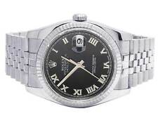 Mens Rolex Datejust 116234 36MM Steel Concealed Clasp Oyster Fluted Bezel Watch