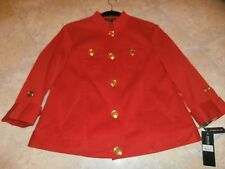 NEW Jones New York Signature Womens PL Cotton Blazer Jacket Coat RED Stretch