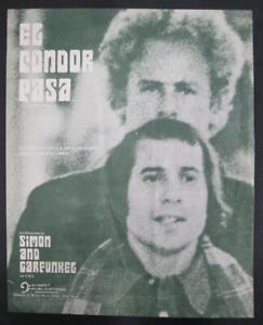 Simon and Garfunkel EL CONDOR PASA (If I Could) original sheet music 1970