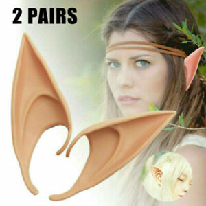 2 Pairs Elf Ears Rubber Latex Prosthetic Tips Angel Pixie Fairy Cosplay Party US