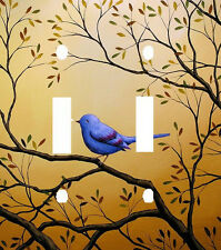 BEAUTIFUL BLUE BIRD ON TREE BRANCHES DOUBLE LIGHT SWITCH PLATE COVER
