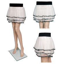 Beige Color Elastic Waist Cute Mini Skirts Sexy Lace Skirts One Size Fit Most