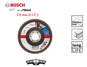 """Bosch 115mm (4 1/2"""") Grinder Linishing Sanding Flap Disc For Metal 80 Grit"""
