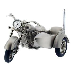 GTP Miniature Chrome Plated Harley Style With Side-Car Motorbike RADIO Clock