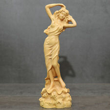 Fine Chinese Boxwood handwork carving lady figure statue