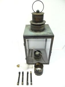 Vintage Used Glass Panel Metal Copper Black Outdoor Hanging Lantern Lamp Parts