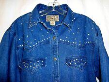 Tantrum Blues Denim Size Large Long Sleeve Shirt/Jacket Rhinestone Accents