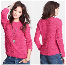 NEW Free People Hot Pink September Song Polar Bear Pullover Shaggy Sweater Sz S