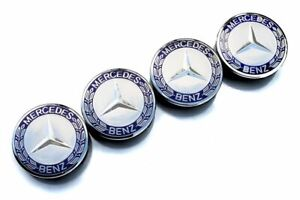 4X Fit Mercedes Benz 75mm Hubcaps Center Wheel Caps Rim Emblem logo Dark Blue