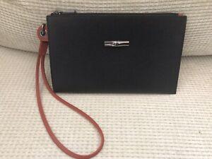 LONGCHAMP Roseau Leather Cosmetics Case Black Pouch Bag Wristlet NEW