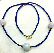 Afghan Natural Lapis Lazuli Tiny Seed Beads Necklace with Agate Handmade Vintage