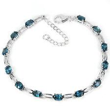 Plata esterlina 925 London piedras preciosas Topacio Azul Y Plata Pulsera de enlace 7.5-9.5 en