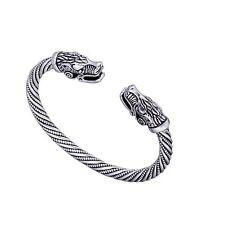 Viking Wolf Head Men Bracelet Bangle Norse Fenrir Pewter Pagan Jewelry Women