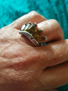 925 Silver, Gorgeous Chunky Ring with Dark Yellow Stones