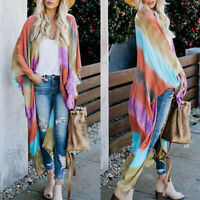Women Rainbow Stripes Loose Kimono Tops Beach Cover Up Cardigan Blouse Haihk