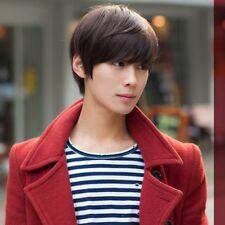 Korean Men's Handsome Short Straight Hair Full Wigs Cosplay Party Dark Brown AZ