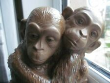 More details for fantastic lladro gres 2 monkey cuddling group model  2066 retired 70`s piece