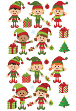 Christmas Elfs & Present Cupcake Toppers Edible Wafer Paper Fairy Cake Toppers