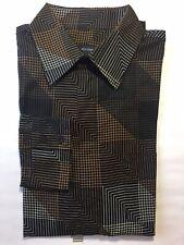 French Connection Long Sleeve Dress Shirt Black Brown Geometric Print M