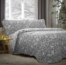 BRUSHED COTTON NORDIC GREY REVERSIBLE DUVET COVER SET IN DOUBLE OR KING SIZE