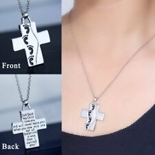 Newest Fashion Cross Pendant Silver Bible Footprint Necklace Chain Jewelry Gifts