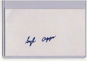 SYL APPS SR. SIGNED 3x5 INDEX CARD NHL HOF AUTOGRAPH TORONTO MAPLE LEAFS (D1998)