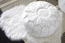 Express Post NEW Luxury Moroccan Leather Ottoman Pouffe Pouf Footstool In White