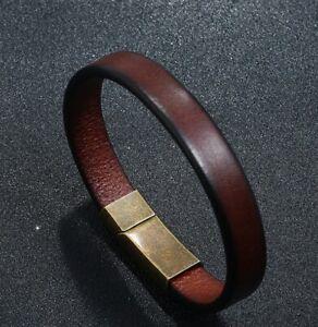 "MEN/ Women Cowboy Vintage Brown Genuine Leather Bracelet / Wrist Bangle 6.5-8.7"""