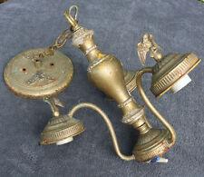 Vintage old LAMP light fixture PARTS 3 arm chandelier rust unsual steam