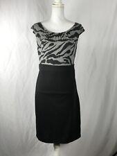 Merona Women's Dress Sz M Black & Charcoal Gray Animal Print Sleeveless Fitted