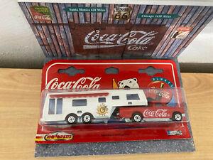 Coca-Cola Majorette S300 Camping-car de luxe 1/60 + diorama mur bois maison 1/43