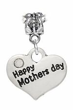Happy Mothers Day Heart New Mom Gift Dangle Charm for European Bead Bracelets