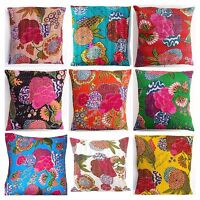 Indian Handmade Floral Home Decor Floor Kantha Embroidery Cushion Cover 40x40cms
