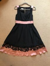 MONSOON Women's Black & Pink Sleeveless Below Knee Length Dress Size 10 - NEW