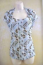 Madison Studio blue/brown/white short sleeve blouse top womens S