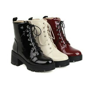 Womens Ankle Boots Punk Zipper Combat Riding Chunky Heel Outdoor Motorcycle Boot