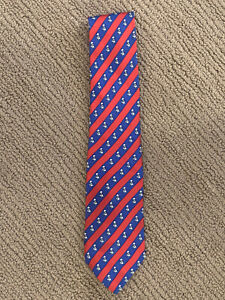 Hermes 7107 OA 100% Silk RED W/ Panda BLUE Striped Necktie Tie Made In France