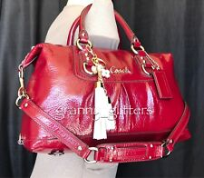 Coach Ashley Dark Red Patent Leather Satchel Shoulder Bag Handbag Purse F15455