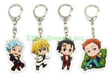 Set of 4 The Seven Deadly Sins Anime Acrylic Keychain Ban Meliodas King Zeldris