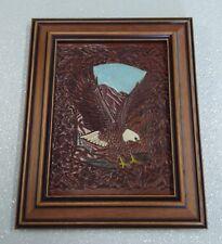 Vintage, Framed, Hand Tooled, Leather American Eagle