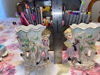 Antique Girl And Boy Vase Planter (Could Be Napco Or Lefton?)