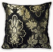 Wd49a Pale Gold on Black Damask Chenille Flower Throw Cushion Cover/Pillow Case