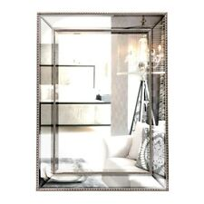 Contemporary Silver Beaded Rectangle Wall Mirror 80 x 110 cm Hanging Mounted ...