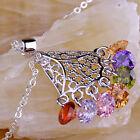 Colorful Peridot & Amethyst & Garnet Gemstone Silver Free Chain Necklace Pendant