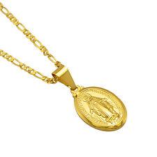 18K Gold Plated Mens Catholic Italy Figaro Virgin Mary Womens Pendant Necklace