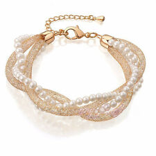 Gold Plated Charm Pearl Wedding Bridal Bangle Bracelet With Crystals Diamante