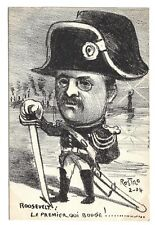 1904 French Cartoon Postcard Teddy Roosevelt as Napoleon #3 Artist Signed Rostro