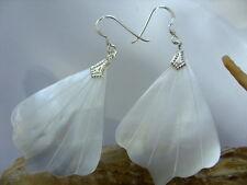 6 cm 925 Silber Ohrringe weiße Perlmutt Muschel Ohrhänger Ohrringe Earrings